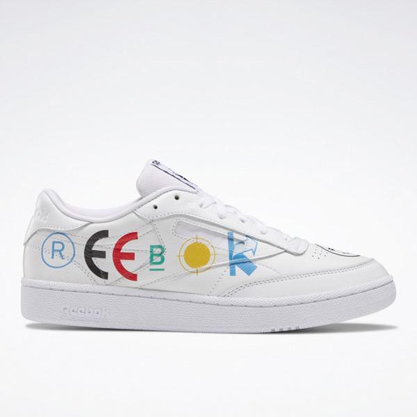 Reebok Unisex BlackEye Patch Club C 85 Court Shoes in White