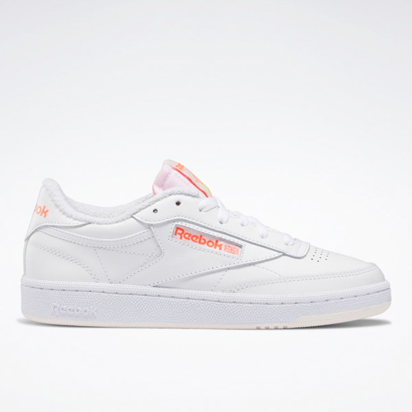 Reebok Women's Club C 85 Court Shoes in White / Orange Flare