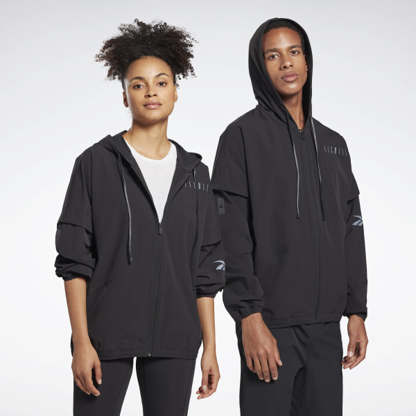 Reebok Unisex LES MILLS® Woven Full-Zip Studio Jacket in Black