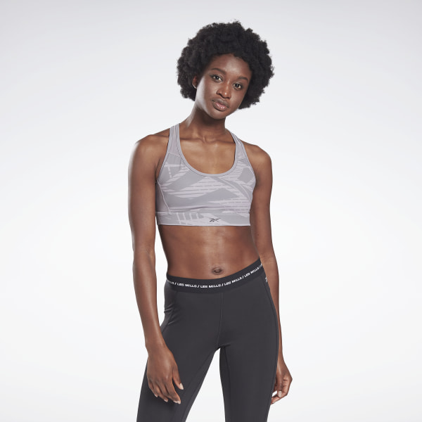 Reebok LES MILLS® Women's Studio Lux Medium-Impact Racer Bra in Grey
