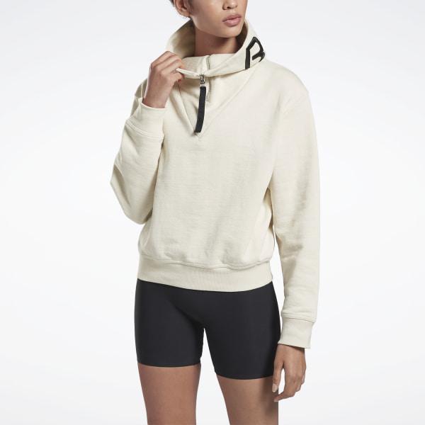 Reebok Women's VB Cropped Cowl Neck Sweater in White