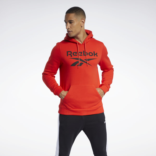 Reebok Men's Training Essentials Big Logo Hoodie in Red