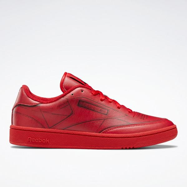 Reebok Unisex Maison Margiela Club C Court Shoes in Red