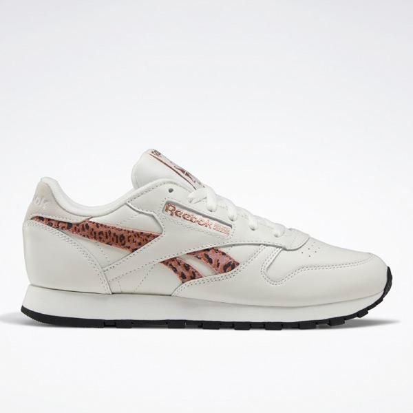 Reebok Classic Leather Women's Running Shoes in Chalk / Cheetah-Print