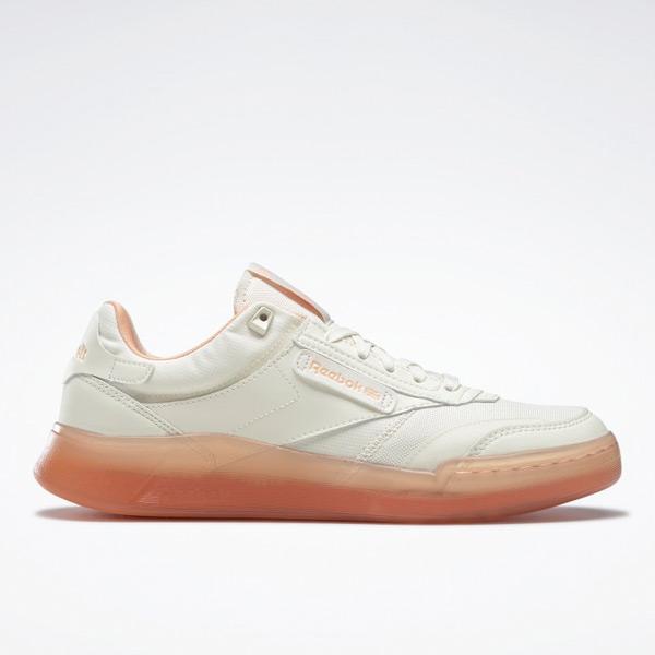 Reebok Women's Club C Legacy Lifestyle Shoes in White / Orange
