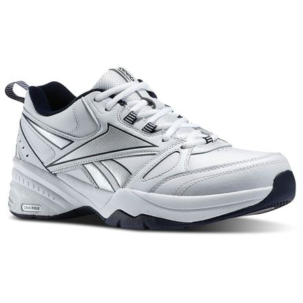 Reebok Royal Trainer 4E Men's Walking, Training Shoes in White / Reebok Navy / Pure Silver