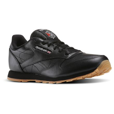 Reebok Classic Leather - Grade School Kids Unisex Shoes Black / Gum