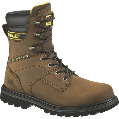 "CAT Salvo 8"" Waterproof Steel Toe Work Boot - Men - Dark Brown"
