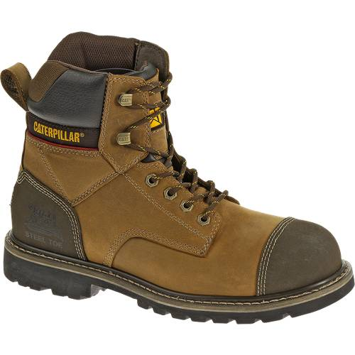 "CAT Traction 6"" Steel Toe Work Boot - Men - Dark Beige"