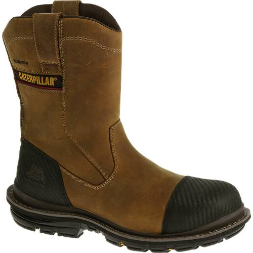 CAT Fabricate Pull On Tough Waterproof Composite Toe Work Boot - Men - Brown