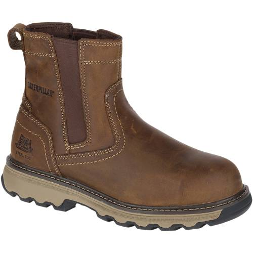 CAT Pelton Steel Toe Work Boot - Men - Dark Beige