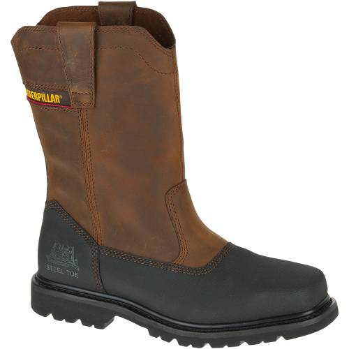 CAT Canyon Pull On Waterproof Steel Toe Work Boot - Men - Dark Brown