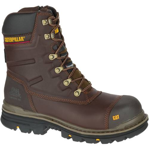 "CAT Premier 8"" Waterproof TX Composite Toe Work Boot - Men - Dark Brown"