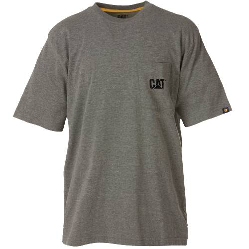 CAT TRADEMARK POCKET TEE - Men - Dark Heather Grey