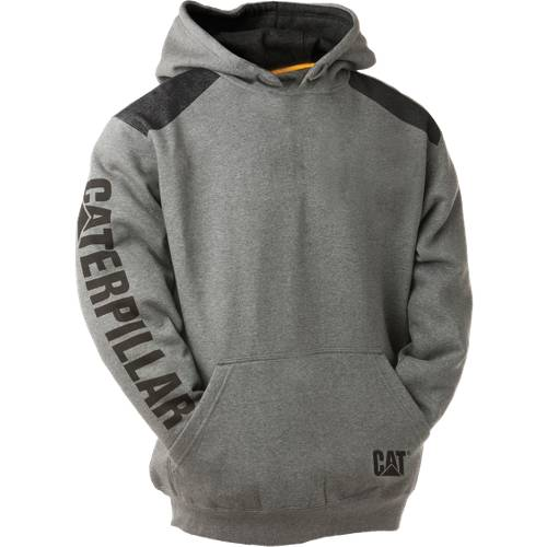 CAT LOGO PANEL HOODED SWEATSHIRT - Men - Dark Heather Grey
