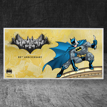 Batman 80th Anniversary 1g Gold Coin Note DC Comics Gold Collectible