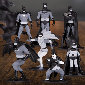 Batman Black & White Set of 7 Mini Figures DC Comics Collectible Set