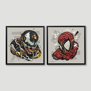 Spider-Man & Venom MECHASOUL Set Marvel Art Print