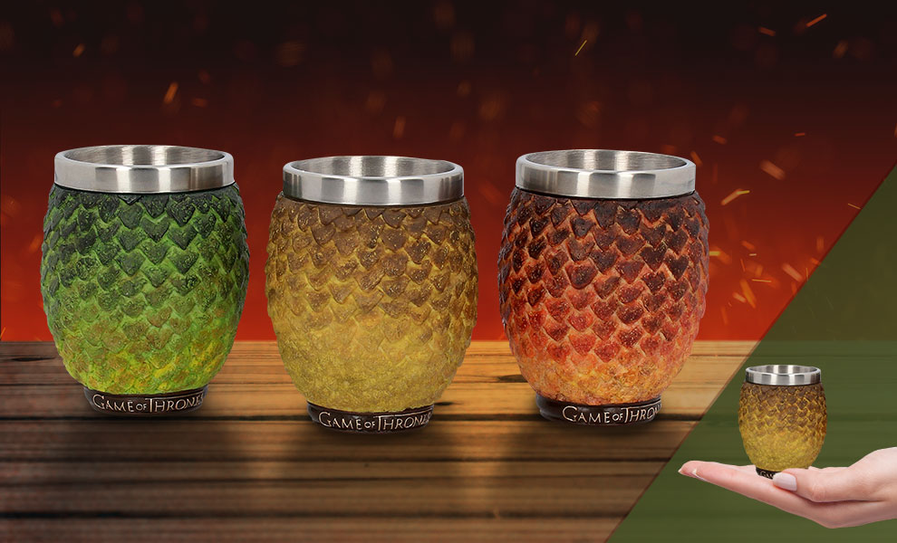 Drogon, Rhaegal, Viserion Dragon Egg Shot Glasses Game of Thrones Collectible Drinkware