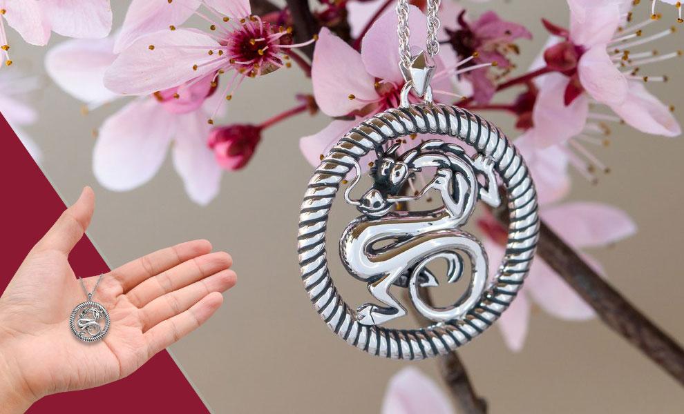 Mushu Medallion (Silver) Necklace Disney Jewelry