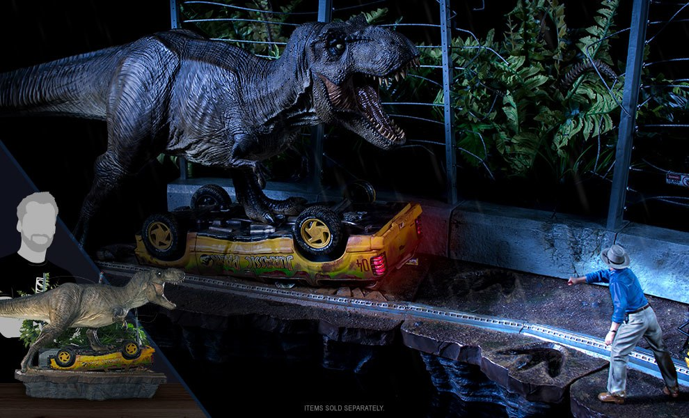 T-Rex Attack Set A Jurassic Park Statue