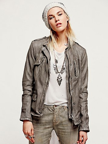 Free People Rumpled Grey Leather Blazer Jacket