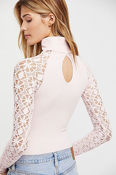 Free People Rib and Lace Turtleneck Top