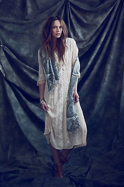 Free People Embroidered Boho Midi Dress