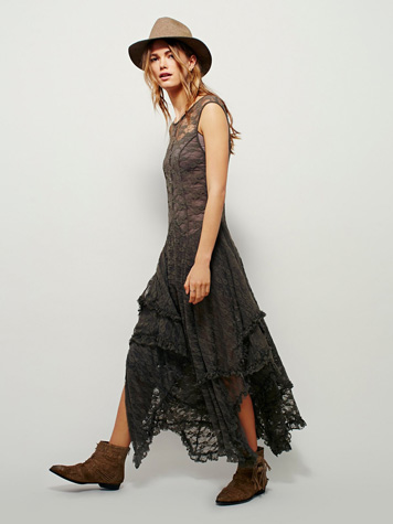 "Free People Bohemian Lace Dress ""French Courtship"" Slip"