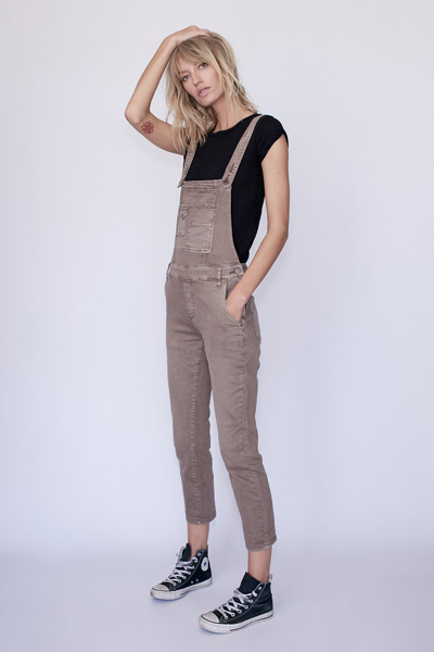 Free People Mocha Washed Denim Overall