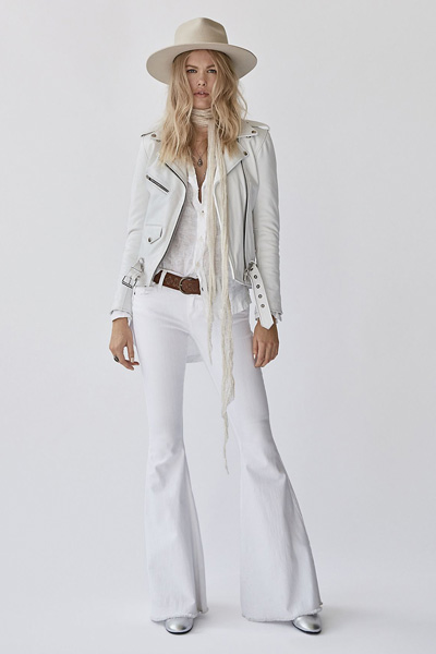 Free People White Denim Super Flare Jeans