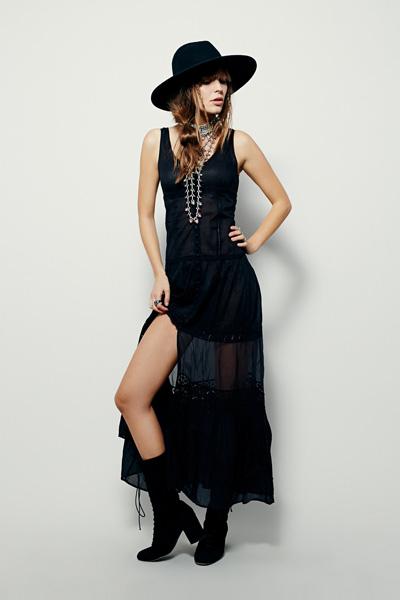 Free People Black Victoria Buttonfront Maxi Dress