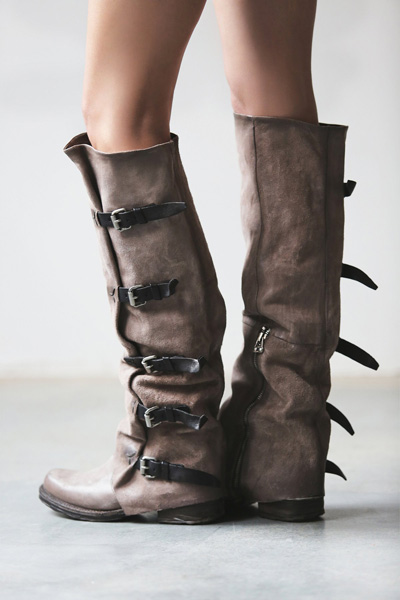 A.S. 98 Leather Tatum Over the Knee Boot Taupe