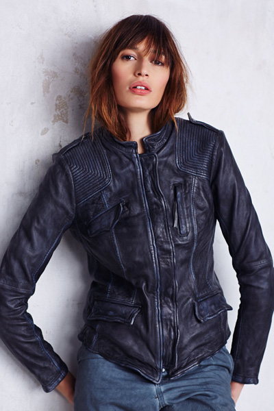 Free People Rumpled Black Leather Blazer Jacket