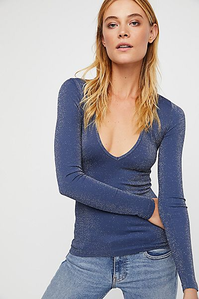Free People Seamless Solid Deep V Top