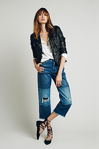 Levi's 1915 501 Distressed Patched Crop Jean