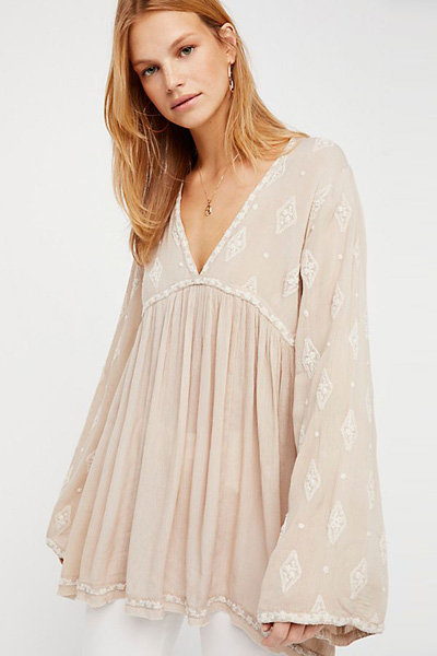 Free People Embroidered Boho Tunic