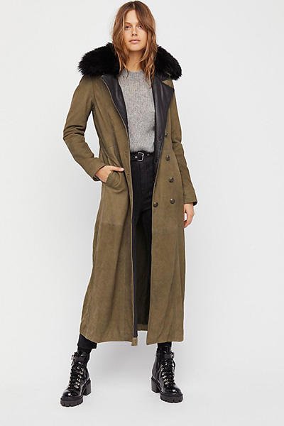 Free People MIlitary Fur Leather Trench Coat