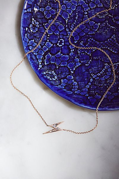 Lightning Bolt Sapphire Necklace by Ark + Arrows x Free People