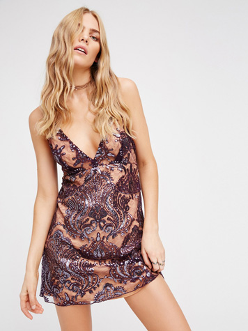 Free People Party Night Shimmers Mini Dress