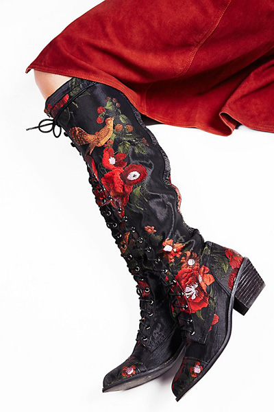 Jeffrey Campbell + Free People Floral Joe Lace Up Boot