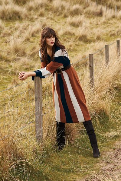 Free People Wanderlust Striped Sweater Midi Dress