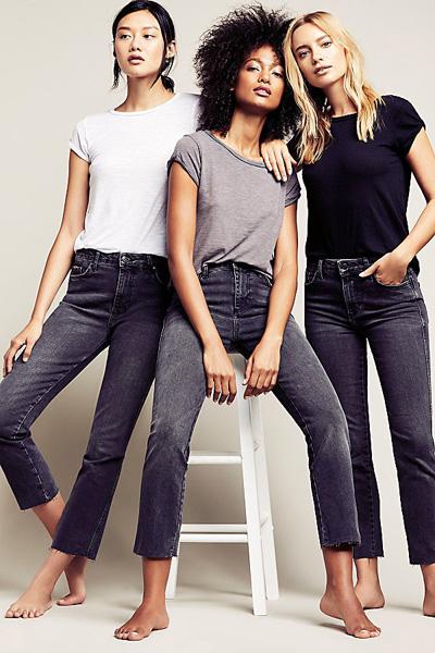 Free People Clean Girlfriend Black Jean