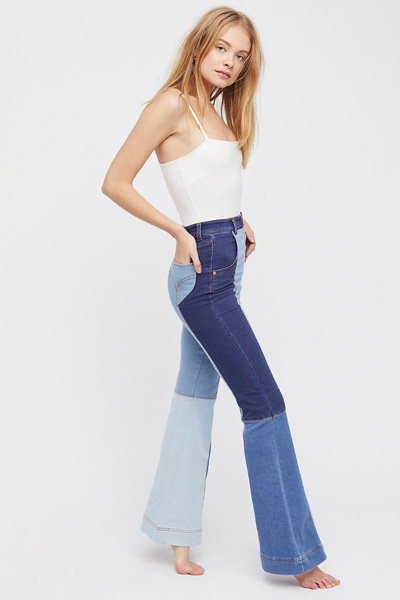 alice McCall Denim Patchwork Color Block Flared Jeans