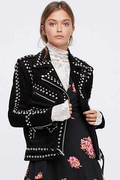 Understated Leather Studded Easy Rider Jacket