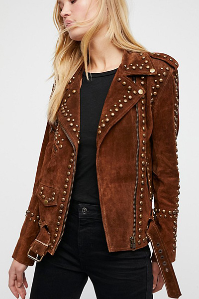 Understated Leather Brown Studded Easy Rider Jacket