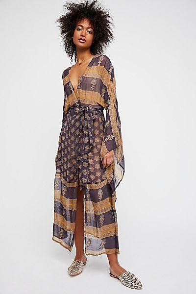 "Free People Bohemian Kimono ""Desert Sun Mantra"""