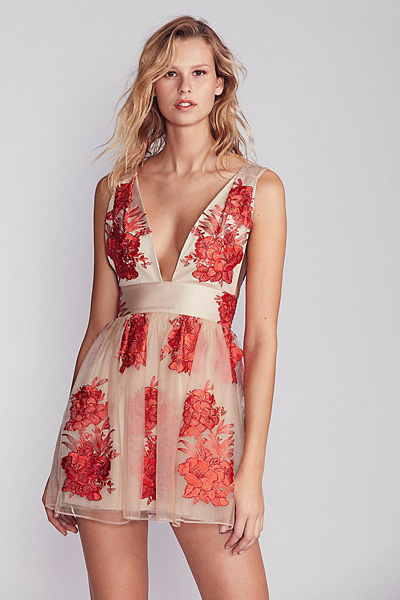 Free People Sarah Embroidered Mini Dress