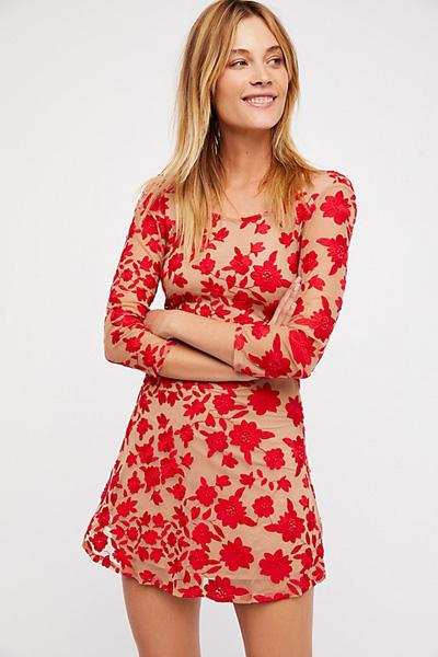 For Love & Lemons Floral Open Back Mini Dress
