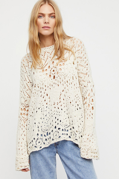 Free People Crochet Lace Sweater